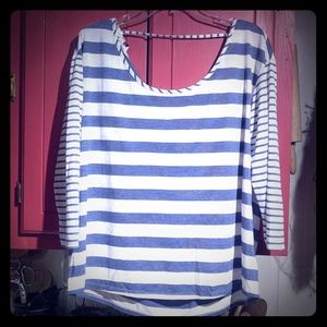 American Eagle Blue & White Striped Shirt